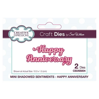 Creative Expressions HAPPY ANNIVERSARY Sue Wilson Mini Shadowed Sentiments Dies cedss004