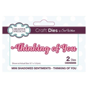 Creative Expressions THINKING OF YOU Sue Wilson Mini Shadowed Sentiments Dies cedss006