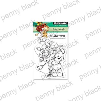 Penny Black Clear Stamps FLOWER TEDDY 30-543