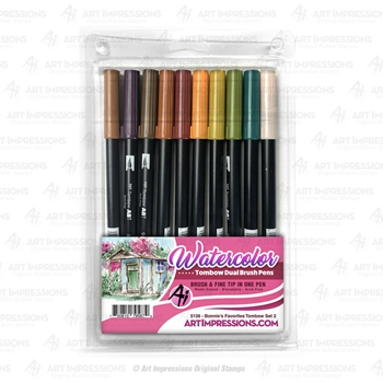 Art Impressions BONNIE'S FAVORITES 2 Watercolor Tombow Dual Brush Pens 5138