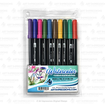 Art Impressions BONNIE'S FAVORITES 1 Watercolor Tombow Dual Brush Pens 5137