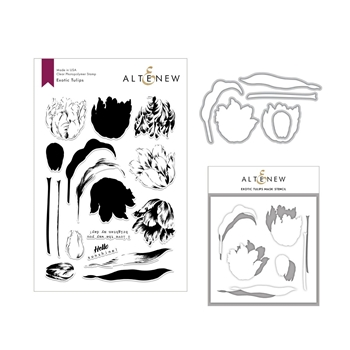 Altenew EXOTIC TULIPS Clear Stamp, Die and Stencil Bundle ALT3021