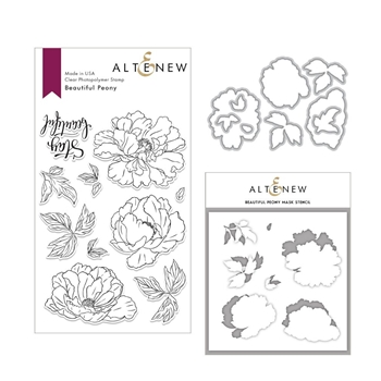 Altenew BEAUTIFUL PEONY Clear Stamp, Die and Stencil Bundle ALT3007