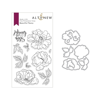 Altenew BEAUTIFUL PEONY Clear Stamp and Die Bundle ALT3006