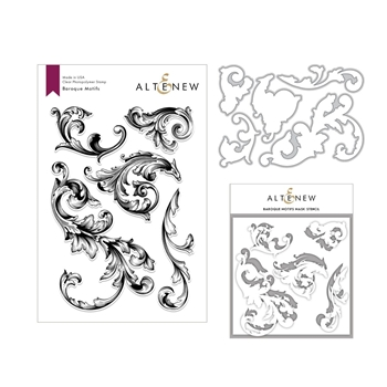 Altenew BAROQUE MOTIFS Clear Stamp, Die and Stencil Bundle ALT3002