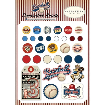 Carta Bella BASEBALL Decorative Brads cbba95020