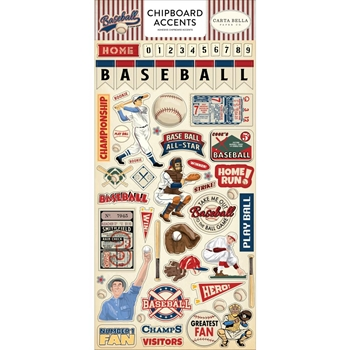 Carta Bella BASEBALL 6 x 13 Chipboard Accents cbba95021