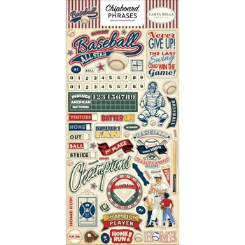 Carta Bella BASEBALL 6 x 13 Chipboard Phrases cbba95022