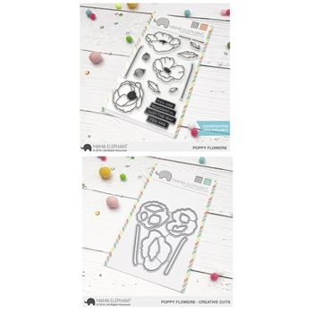 Mama Elephant Clear Stamp and Die MEPT594 Poppy Flowers SET