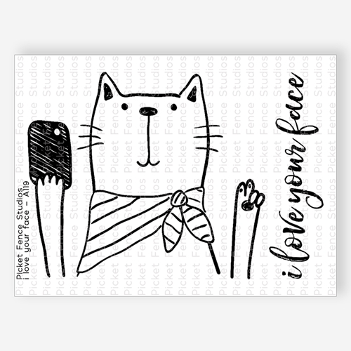 Picket Fence Studios I LOVE YOUR FACE Clear Stamp Set a119 Preview Image