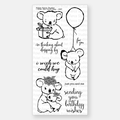 Picket Fence Studios I WISH WE COULD HUG Clear Stamp Set a127 Preview Image