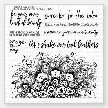 Picket Fence Studios LET'S SHAKE OUR TAIL FEATHERS Clear Stamp Set bb114