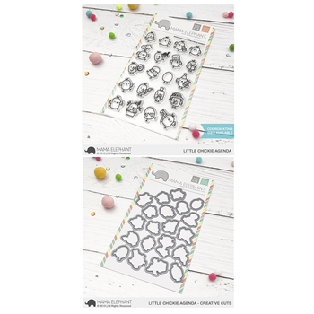 Mama Elephant Clear Stamp and Die MEPT588 Little Chickie Agenda SET