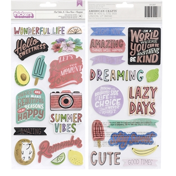 American Crafts Amy Tangerine ROLL WITH IT Foam Phrase Stickers Stay Sweet 351207