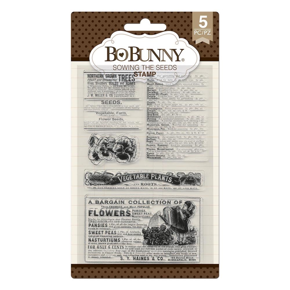 BoBunny COTTONTAIL SOWING SEEDS Clear Stamps 7310525 zoom image