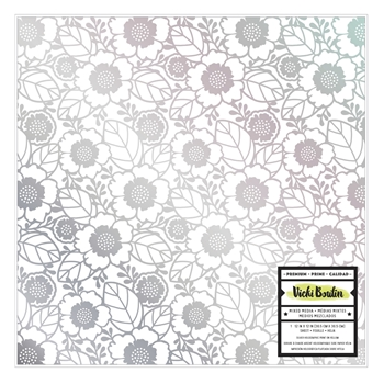 American Crafts Vicki Boutin SILVER HOLOGRAPHIC FOIL PRINT 12x12 Inch Vellum Color Kaleidoscope 351098