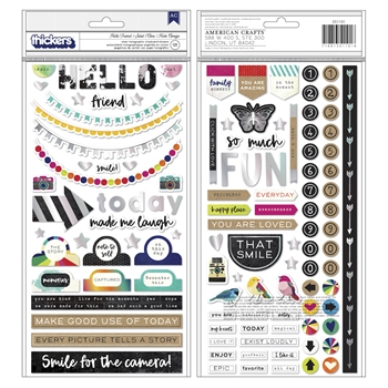 American Crafts Vicki Boutin HELLO FRIEND Silver Holographic Chipboard Stickers Color Kaleidoscope 351101