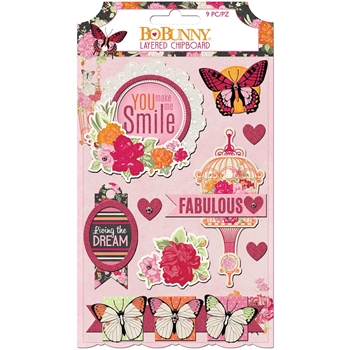 BoBunny SWEET CLEMENTINE Layered Chipboard 7310438