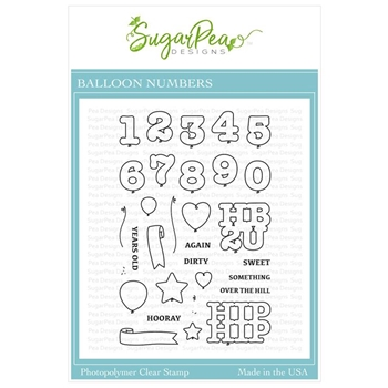 SugarPea Designs BALLOON NUMBERS Clear Stamp Set spd-00325