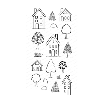 Impression Obsession Clear Stamps HOUSES WP923