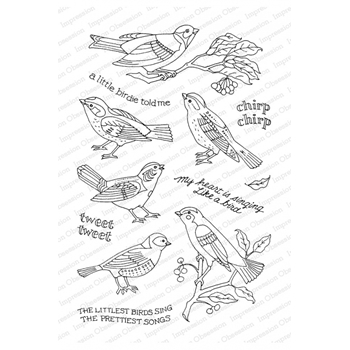 Pink Ink for Impression Obsession Clear Stamps LITTLE SONGBIRD CL931