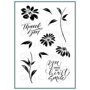 Gina K Designs WATERCOLOR FLOWERS Clear Stamps 2293