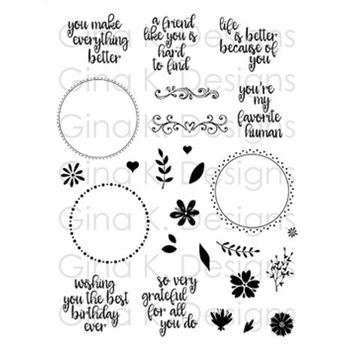 Gina K Designs WREATH BUILDER Clear Stamps 2385