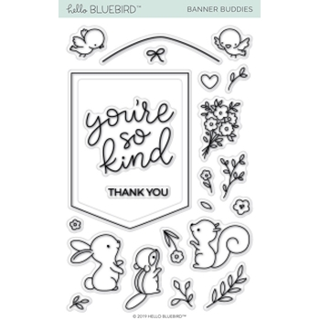 Hello Bluebird BANNER BUDDIES Clear Stamps hb2160