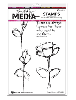 Dina Wakley ALWAYS FLOWERS Clear Stamp Set MDR66224