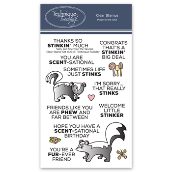 Technique Tuesday SALLY AND SHERMAN SKUNKS Clear Stamps 02764