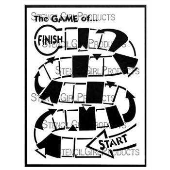 StencilGirl WINDING GAME BOARD 9x12 Stencil l707