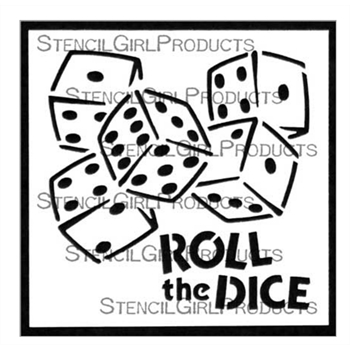 StencilGirl ROLL THE DICE 4x4 Stencil m241