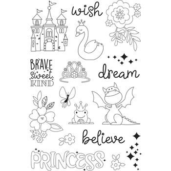Simple Stories MAKE A WISH Little Princess Clear Stamp Set 10744
