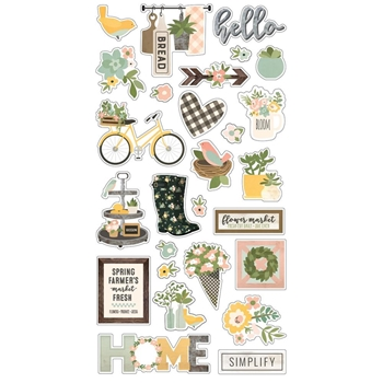 Simple Stories SPRING FARMHOUSE 6 x 12 Chipboard Stickers 10597