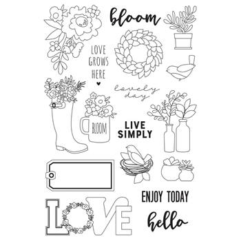 Simple Stories LIVE SIMPLY Spring Farmhouse Clear Stamp Set 10746