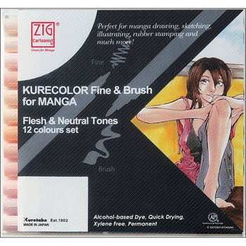 Zig FLESH AND NATURAL Cartoonist Kurecolor Fine and Brush Manga Marker Set 01833