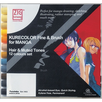 Zig HAIR AND MUTED Cartoonist Kurecolor Fine and Brush Manga Marker Set 01835