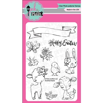 Pink and Main SKETCHED EASTER Clear Stamps PM0325