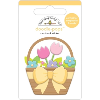 Doodlebug FLOWER BASKET Doodle Pops 3D Sticker Hoppy Easter 6241