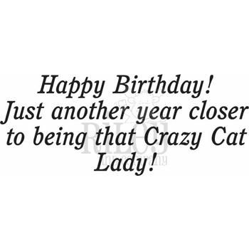 Riley And Company Funny Bones CRAZY CAT LADY Cling Stamp RWD-677