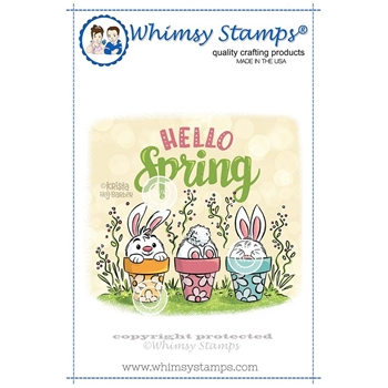 Whimsy Stamps HELLO SPRING BUNNIES Rubber Cling Stamp KHB141