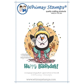 Whimsy Stamps BIRTHDAY PENGUIN Rubber Cling Stamp KHB140