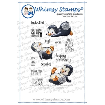 Whimsy Stamps PENGUIN SLIDES Rubber Cling Stamps C1271