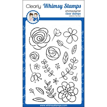 Whimsy Stamps BEAUCOUP BOUQUET Clear Stamps CWSD206