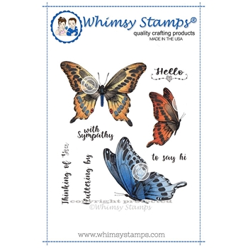 Whimsy Stamps BUTTERFLIES FLUTTERING Rubber Cling Stamp DA1107