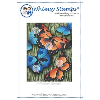 Whimsy Stamps BUTTERFLY BACKGROUND Rubber Cling Stamp DA1106