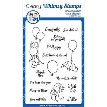 Whimsy Stamps BUNNY BALLOONS 2 Clear Stamps CWSD192