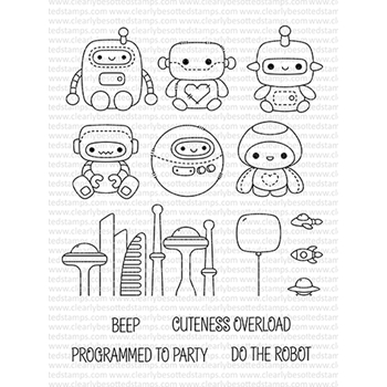 Clearly Besotted ROBOT PLUSHIES Clear Stamps