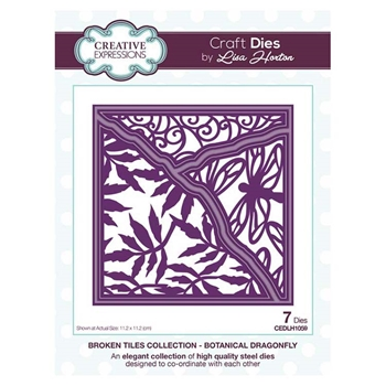 Creative Expressions BOTANICAL DRAGONFLY Broken Tile Collection Dies cedlh1059