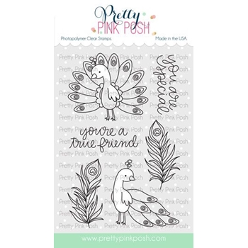 Pretty Pink Posh PEACOCK FRIENDS Clear Stamps